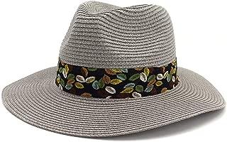 Vintage Women Summer Beach Sun Visor Cap Panama Hat Men Straw Fedora Male Sunhat Chapeau Cool Jazz Trilby Cap` TuanTuan (Color : Gray, Size : 56-58CM)