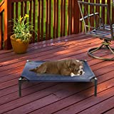 """Elevated Pet Bed-Portable Raised Cot-Style Bed W/ Non-Slip Feet, 30""""x 24""""x 7"""" for Dogs, Cats, and Small Pets-Indoor/Outdoor Use by Petmaker (Blue)"""