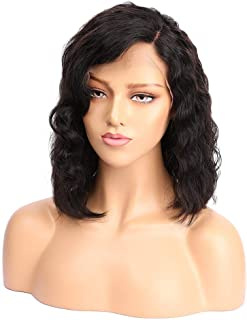 Lace Front Wigs for Black Women, Human Hair Wigs with Brazilian Virgin Hair, Body Wave, 130% Density, Natural Black Color, 12 inch