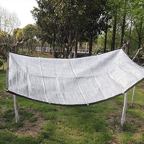 WYJW Zonwerende stof voor lijmrand met oogjes, premium beschermrooster gemaakt van zilverkleurig aluminium, UV-bestendig (maat: 3X7M) 4x8M