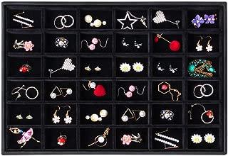 Valdler Velvet Stackable 36 Grid Jewelry Tray Showcase Display Organizer