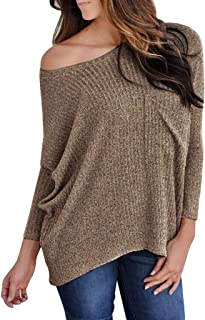 Off Shoulder Sweater for Womens, Plus Size Solid Color Knitted Bat Long Sleeve Loose Tops Jumper Pullover