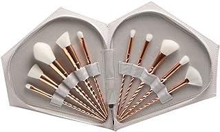 Dilla Beauty メイクブラシ 化粧ブラシ 化粧筆 めっきは、金のプラスチックハンドルをバラ 10本セット ファンデーションブラシ メイクアップブラシ 専門化粧 専用ケース 品質保証 (ホワイト+バッグ)