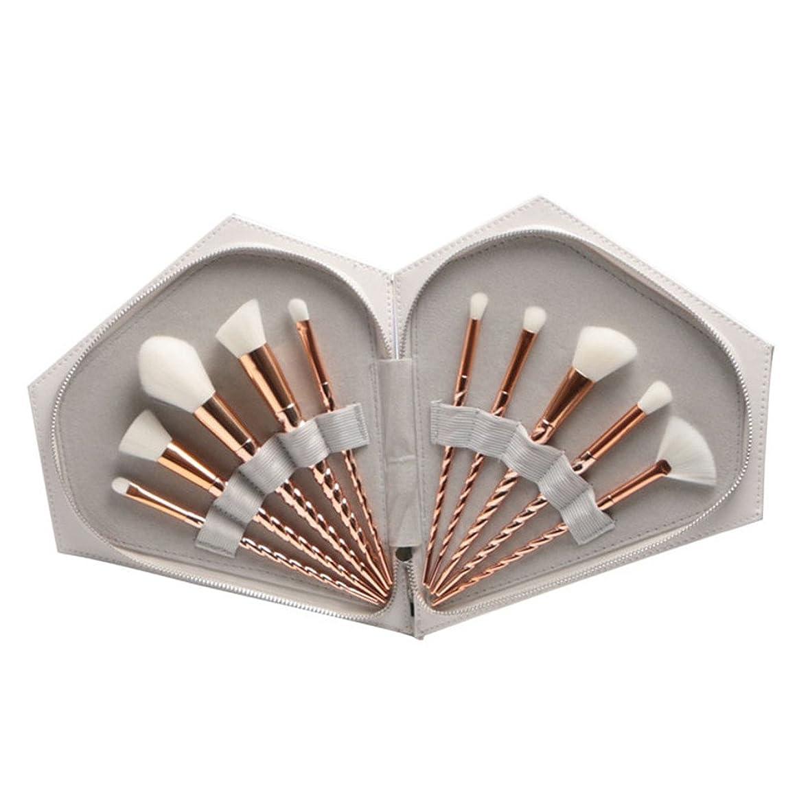 失効異常な討論Dilla Beauty メイクブラシ 化粧ブラシ 化粧筆 めっきは、金のプラスチックハンドルをバラ 10本セット ファンデーションブラシ メイクアップブラシ 専門化粧 専用ケース 品質保証 (ホワイト+バッグ)