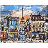 Pintar por números para adultos Paris - Kit de pintura al óleo por números con pinceles y colores brillantes - Lienzo Pre-dibujado fácil de pintar para principiantes, niños y adultos
