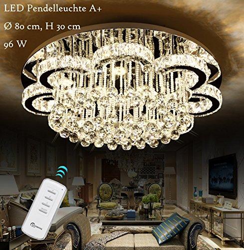 Euroton LED Pendelleuchte Kristall 6019-80cm mit Fernbedienung Lichtfarbe Kaltweiß warmweiß neutralweiß wechselbar Kristall klar Luxus K9. LED Deckenleuchte Deckenlampe A+