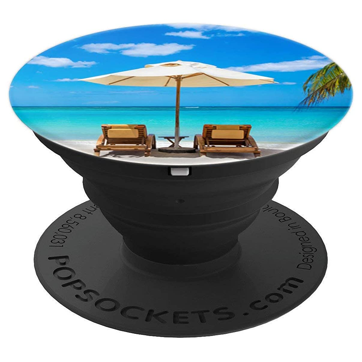 Tropical Beach Chairs Umbrella Romantic Vacation Hawaii Grip - PopSockets Grip and Stand for Phones and Tablets
