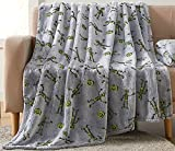Halloween Glow in The Dark Throw Blanket: Skeletons and Jack O Lantern Pumpkins on Grey Velvet Fleece for Sofa Bed Couch Chair Dorm (Style 1)