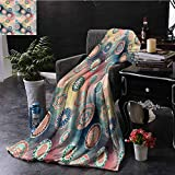 ERshuo Batik Boho Throw Blanket Abstract Round Spiral Figures Couch Bed Napping Reading Recliner W60...