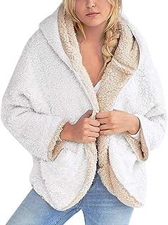 Womens Casual Coats Open Front Hooded Cardigan Fleece Pocket Coat Outwear Zip Up Colors Block Fuzzy Faux Jacket