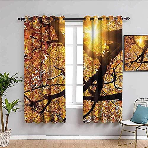 LucaSng Blickdicht Vorhang Wärmeisolierender - Gelber großer Baum Sonnenlicht Pflanze - 140x100 cm Junge mit Mädchen Schlafzimmer Wohnzimmer Kinderzimmer - 3D Digitaldruck mit Ösen Thermo Vorhang
