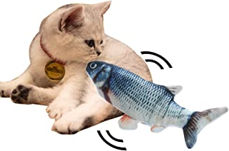 Electric Catnip Fish Toys for Cats Fish Catnip Toys Cat Toys Simulation Plush Fish Shape Toy Doll Interactive Pets Pillow Chew Bite Kick Supplies for Cat Kitten