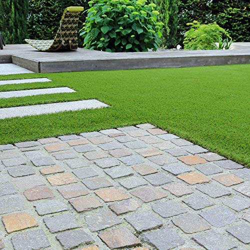 GardenKraft 26070 4m x 1m 15mm Pile High Artificial Grass / Light Green Astro Turf / High Density Fake Grass