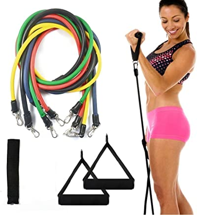 GOCART 9 Pieces Set of Exercise Resistance Bands, Door Anchor, Handle and Carry Bag for Physical Therapy and Resistance Training for Men and Women (Multicolour)