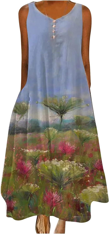 Maxi Dress Women Printed Casual Gradient Crew Neck Sleeveless Plus Size Long Dress Maxi Skirt Boho Floral Elegant Sexy