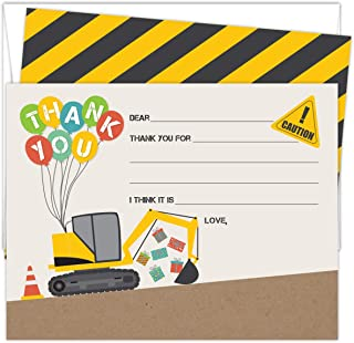 """Construction Themed Fill-In-The-Blanks Thank You Cards. Set of 25 5.5"""" x 4.25"""" and A2 White Envelopes. Excavator and Balloon Design. Printed on Heavy Card Stock."""