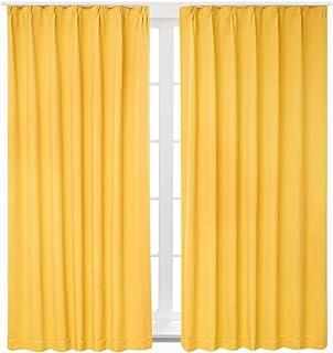 Bedsure カーテン 1級遮光 ドレープカーテン イエロー 幅100cm×丈178cm 2枚組 黄色 断熱 保温 省エネ おしゃれ 昼夜目隠し 遮光カーテン 高級感のある生地 リビングルーム