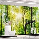 StickerProfis Küchenrückwand selbstklebend - Wald - 1.5mm, Versteift, alle Untergründe, Hart PET Material, Premium 60 x 340cm