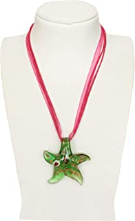 Argento Dubai Murano Glass Starfish Lampwork Pendant Necklace
