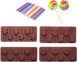 4pcs Silicone chocolate Lollipop Mold + 30pcs Colorful Lollipop Sticks,Candy Making Mold,Chocolate Mold, Ice Soap Molds