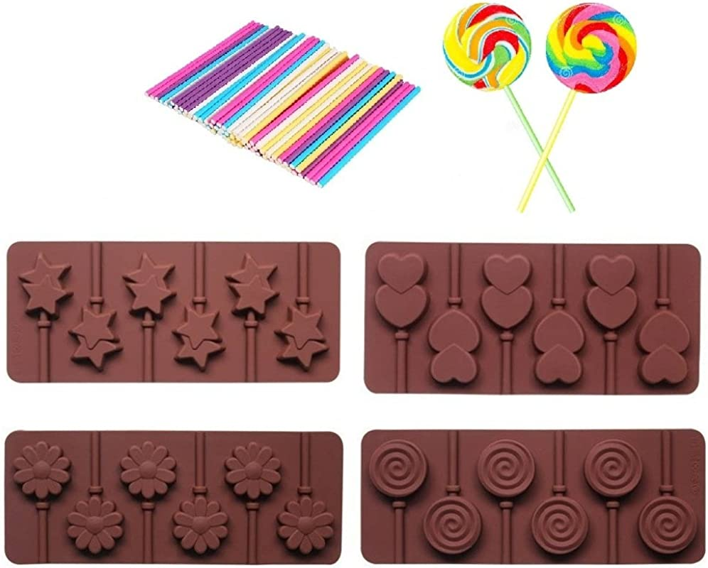 4pcs Silicone Chocolate Lollipop Mold 30pcs Colorful Lollipop Sticks Candy Making Mold Chocolate Mold Ice Soap Molds