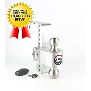 Lifetime Gauge Warranty Adjustable Steel Trailer Hitch Ball Mount w//Built-in Scale 2 Stainless Steel Tow Balls 2 Receiver 12,500 LBS GTW Weigh Safe SWS8-2 8 Drop Hitch Keyed Lock