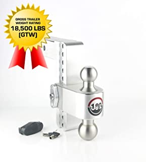 "Weigh Safe LTB8-2.5, 8"" Drop 180 Hitch w/ 2.5"" Shank/Shaft, Adjustable Aluminum Trailer Hitch & Ball Mount, Stainless Steel Combo Ball (2"" & 2-5/16"") and a Double-pin Key Lock"