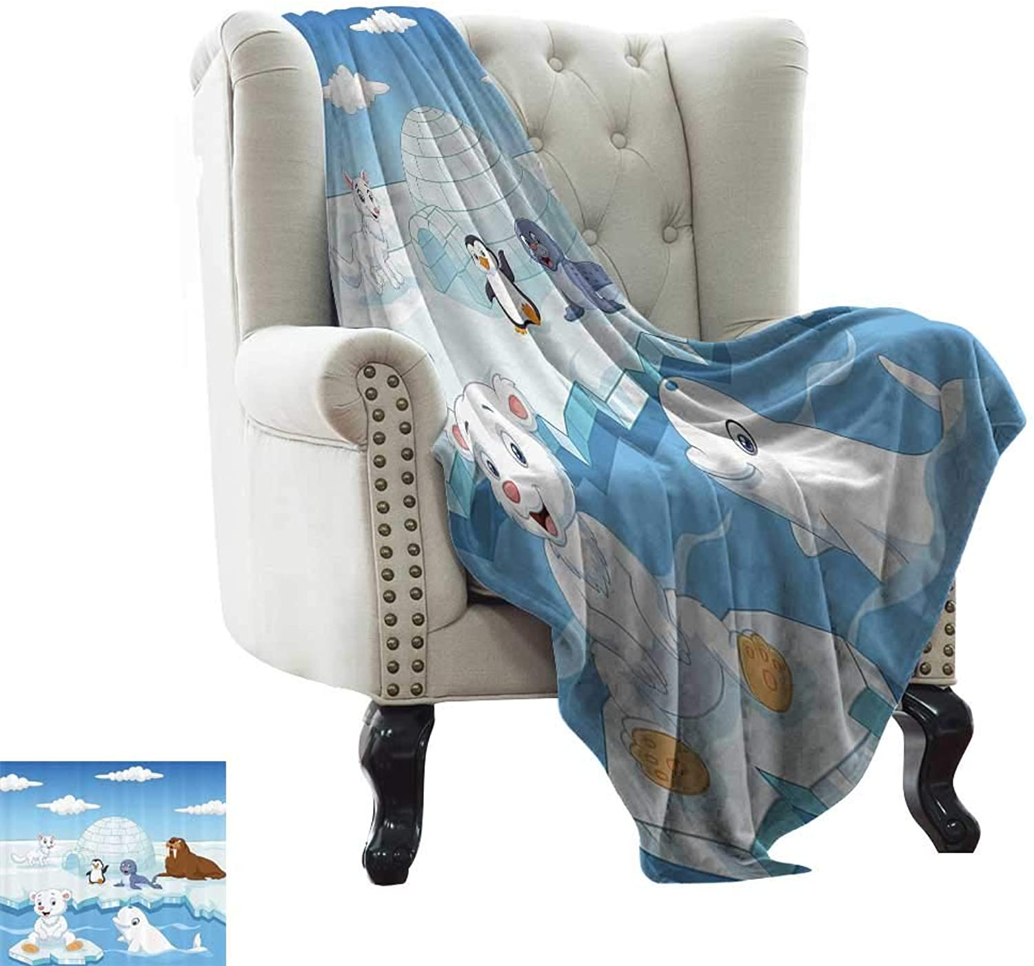 RenteriaDecor Kids Decor Blankets Image of Arctics Animals Polar Bears Seal Penguins Wolfs Whales Artwork 60 x50  Decorative Blankets for Car Travel Sky bluee and White
