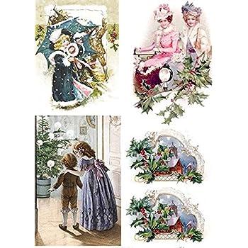 Reispapier-Motiv Strohseide-A4-Vintage-Weihnachten-Frozen Roses-CBRP133