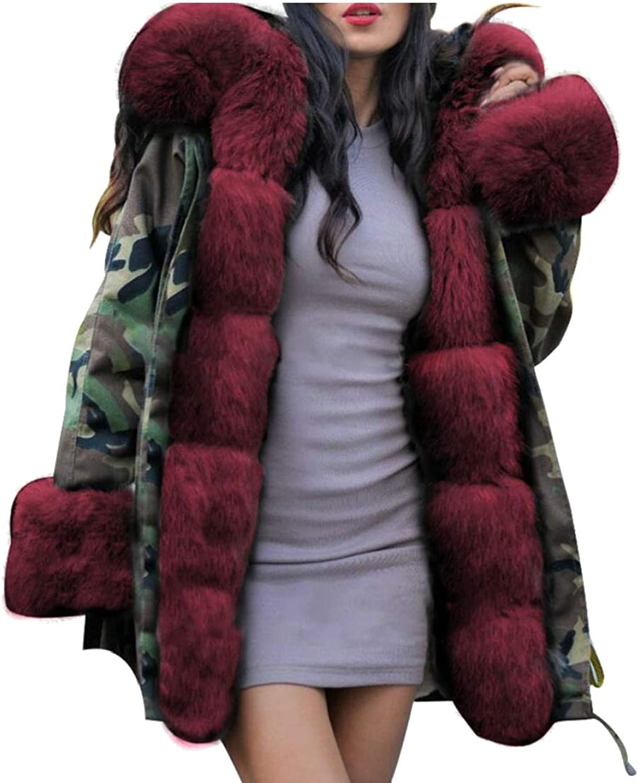 Gocgt Women Hooded Camouflage Warm Winter Coats Faux Fur Jacket Parka Overcoat