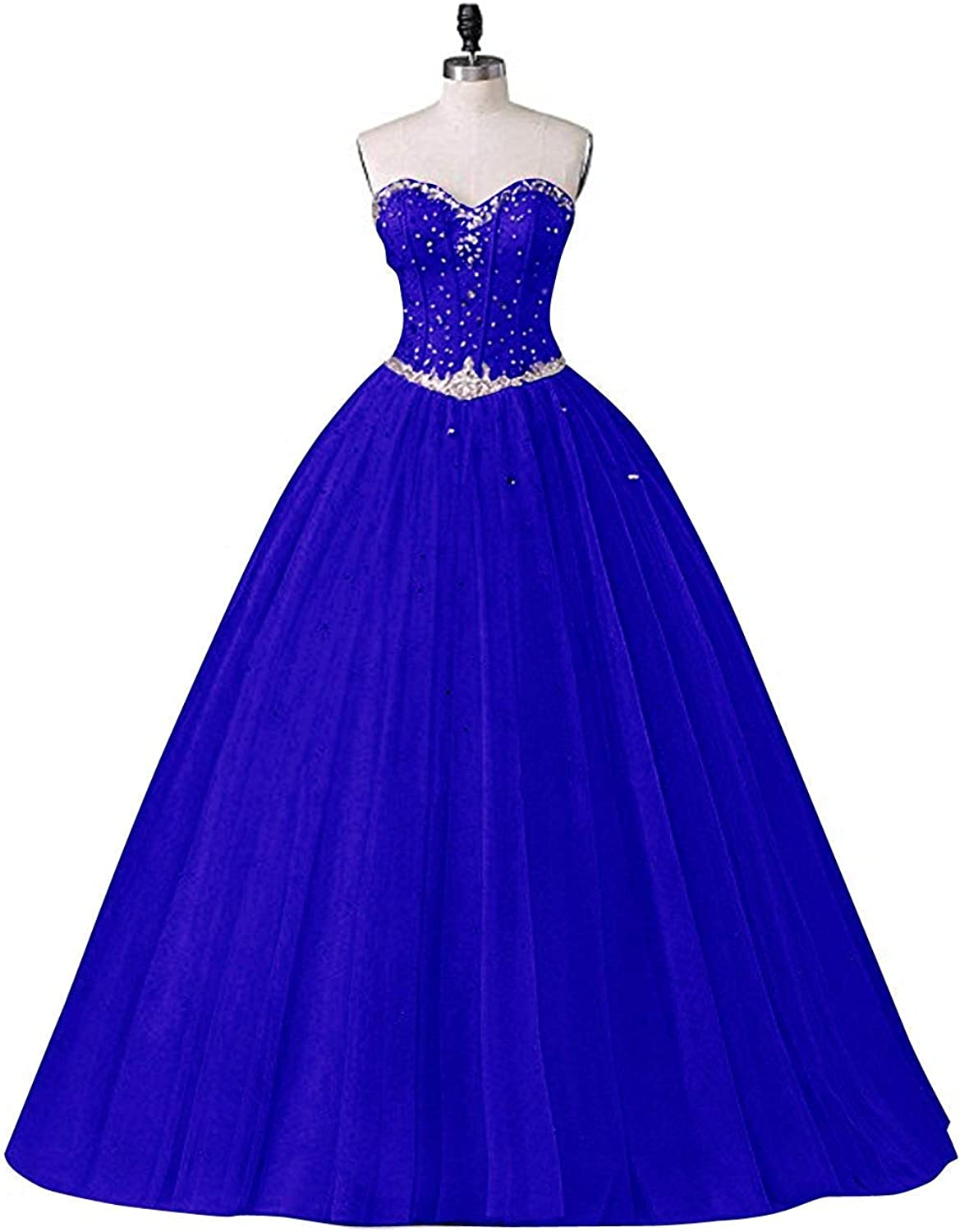 Darcy74Dulles Women's Ball Gown Royal bluee Backless Crystal Strapless Tulle Elegant Formal Long Dresses