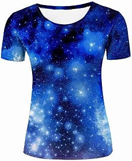 レディーズ Tシャツ 3D プリント 青いキラキラ粒子柄 半袖 春夏 海外人気 ファッション 母親?彼女?女の子 プレゼントに