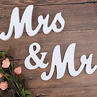 Loriver White Mr and Mrs Wooden Letters Wedding Decoration/Present