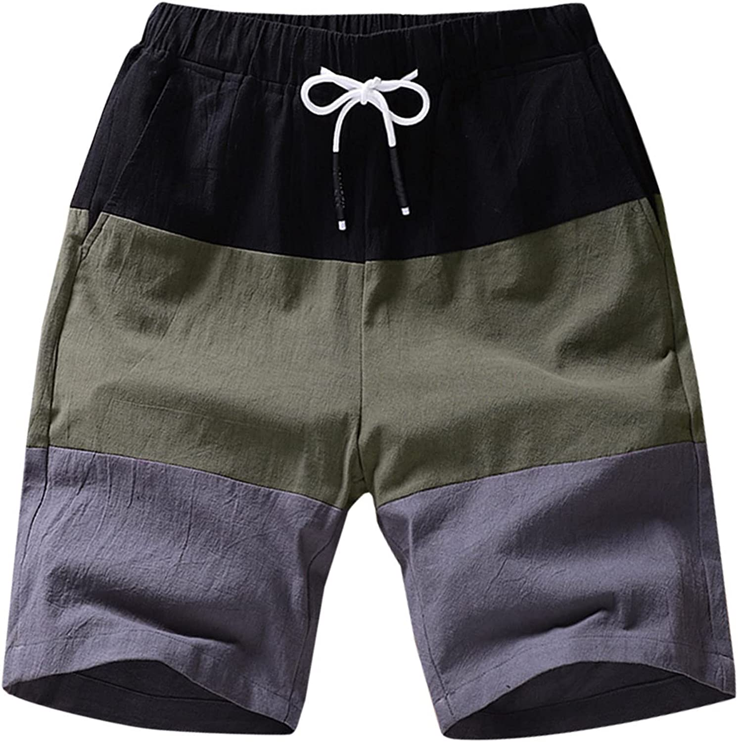 Men's Casual Beach Shorts with Drawstring,Plus Size Loose Breathable Elastic Waist Color Matching Summer Cotton Shorts