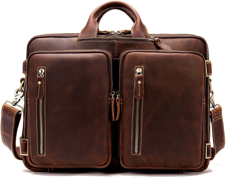 Vintage Leather Men's Briefcase Backpack Messenger Congreenible Laptop Bag Handbag Backpack Travel Hiking Rucksack