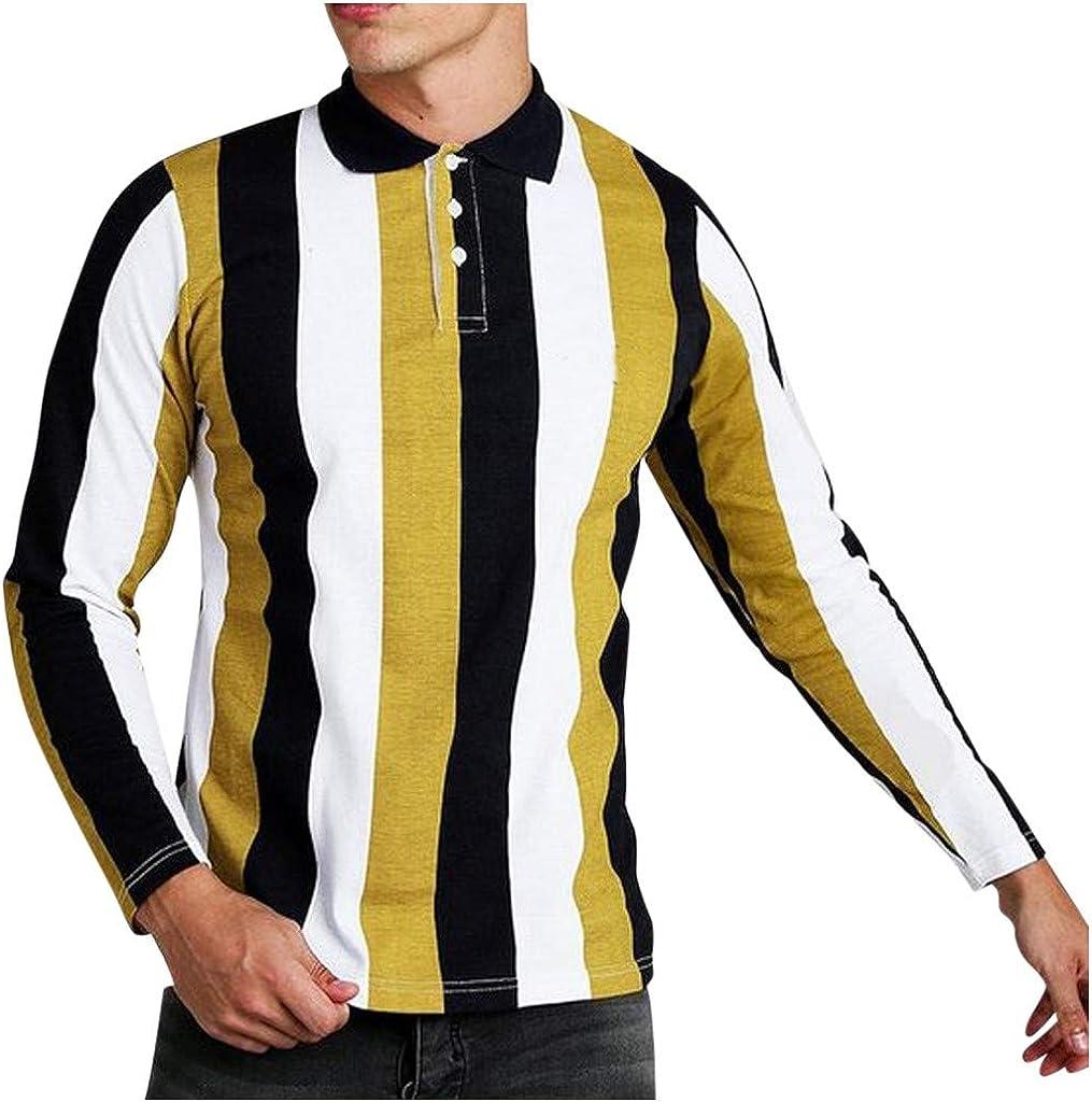 Men Splicing Striped T-Shirt Business Shirt Leisure Retro Long-Sleeved Shirt