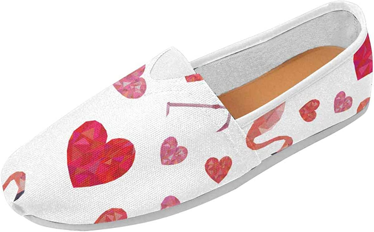 InterestPrint Pink Polygonal Flamingos and Hearts Women's Loafers Casual Slip On Flats