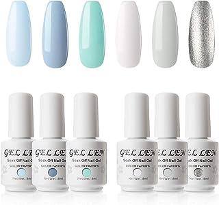 Gellen Gel Nail Polish Set, Mint Color Sky Series Upgraded 6 Colors - Popular Fresh Pure Sparkle Colors Nail Art Soak Off UV LED Gel Manicure Kit