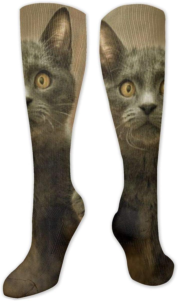 Shocked Cat Gray Knee High Socks Leg Warmer Dresses Long Boot Stockings For Womens Cosplay Daily Wear