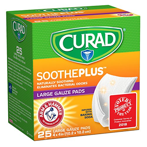CURAD SoothePLUS Gauze Pads with ARM & Hammer Baking Soda, 4