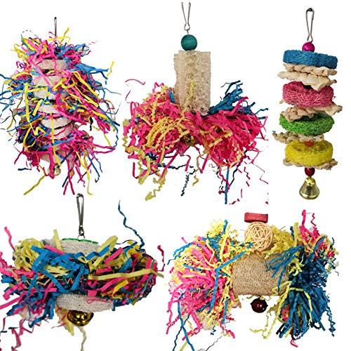 Soapow Vogel-Kauspielzeug für Papageien, Käfig-Häckseln, Spielzeug, Futtersuche zum Aufhängen, Spielzeug für Kakadie, Papagei, 5 Stück