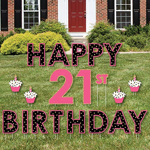 Big Dot of Happiness Finally 21 Girl - Yard Sign Outdoor Lawn Decorations - Happy 21st Birthday Yard Signs