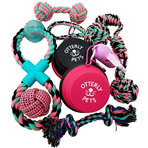 Otterly Pets Puppy Dog Cute Pink Boutique Rope Toys and Silicone Bowl Set Bundle for Small to Medium Breed Girl Dogs (9-Pack)