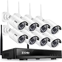 ZOSI 8CH 1080P Wireless Security Cameras System,8Channel 1080P WiFi Video NVR System,8pcs Weatherproof 2.0MP 1080P Night Vision IP CCTV Cameras Motion Alert, Smartphone Remote Access(No HDD)