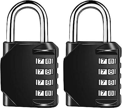 Vaupan 2 Pack Combination Lock Resettable 4-Digit Padlock, Outdoor Waterproof and Heavy Duty Combination Padlock for School Gym Locker, Sports Locker, Fence, Toolbox, Gate, Case, Hasp Storage (Black)