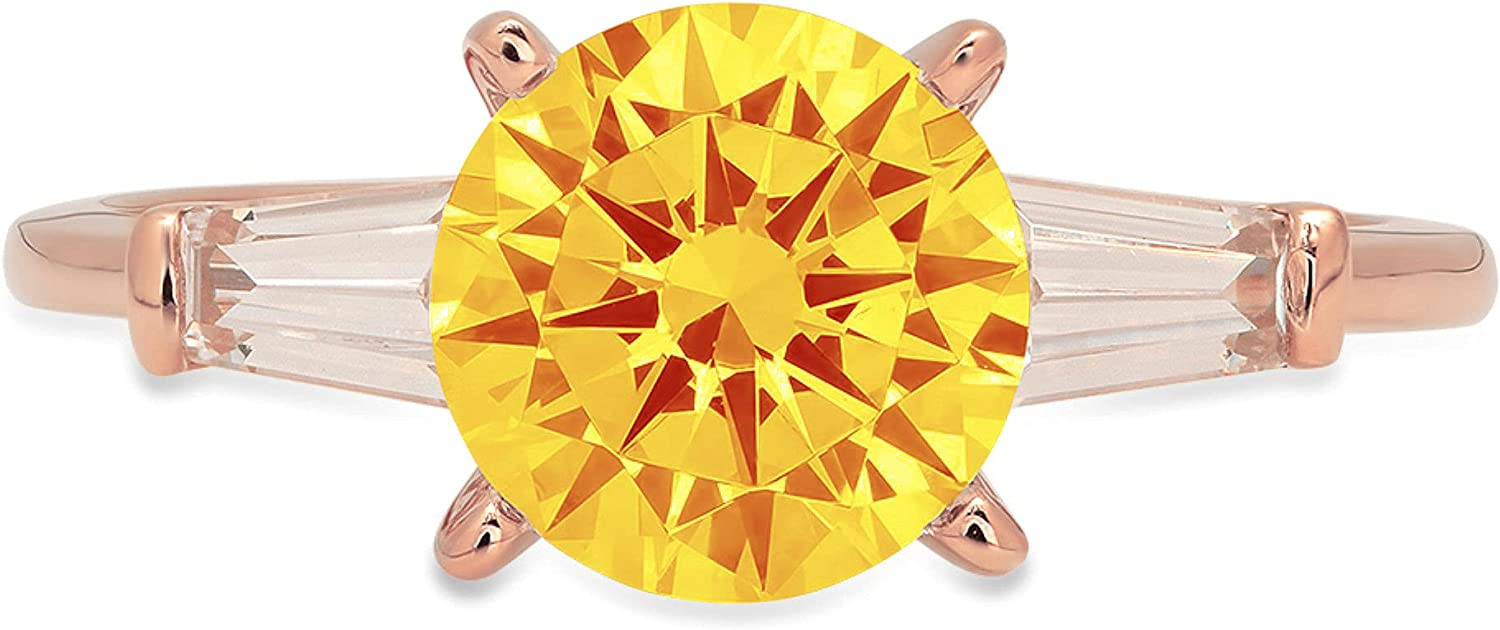 2.0 ct Round Baguette Cut 3 stone Solitaire Genuine Flawless Natural Yellow Citrine Gemstone Engagement Promise Statement Anniversary Bridal Wedding Accent Ring Solid 18K Rose Gold