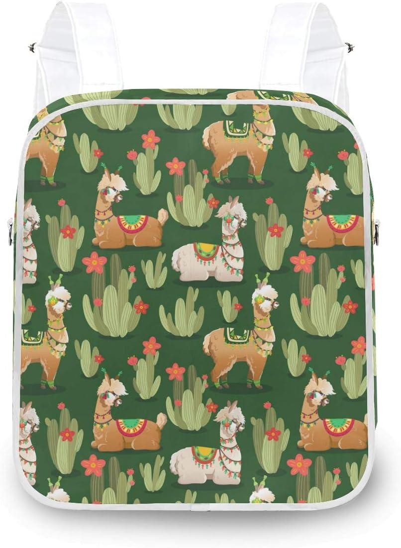 MOFEIYUE Women Backpack Llama Alpaca Austin Mall Plants Long Beach Mall Shoulder Cactus Scho