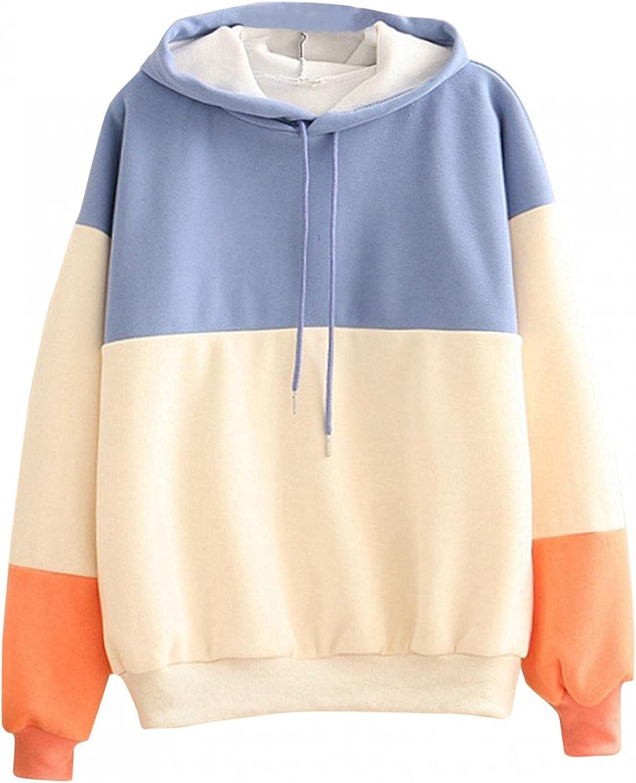 Toeava Sweatshirt for Teen Girls Women Patchwork Crewneck Hoodie Oversized Long Sleeve Pullover Tops Shirts Loose Tees