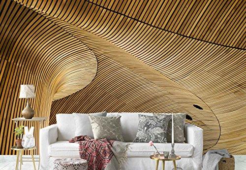 Vlies Fototapete Fotomural - Wandbild - Tapete - Wellenförmige Holzplatten Linien Löcher Muster - Thema Patterns - L - 254cm x 184cm (BxH) - 2 Teilig - Gedrückt auf 130gsm Vlies - 1X-603003V4