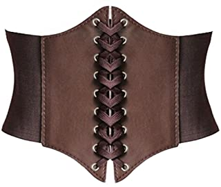 Alivila.Y Fashion Corset Women's Faux Leather Underbust Waist Belt Corset A13-Coffee